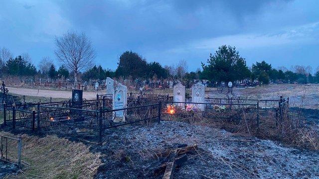 Пал сухой травы привёл к пожару на кладбище в Нижегородской области